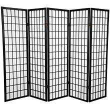 Asia Direct 530-5 5 panel rice paper center black finish room divider shoji screen