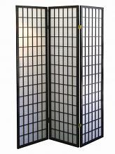Asia Direct 530 3 panel black finish wood rice paper room divider shoji screen