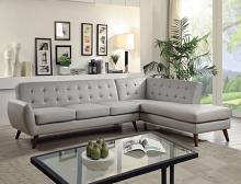 Acme 53045 2 pc Essick II grey faux leather sectional sofa with tufted back