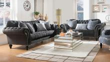 Acme 53090-91 2 pc Everly quinn renteria gaura dark gray velvet sofa and love seat