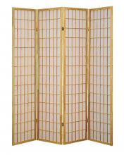 Asia Direct 531-4 4 panel natural finish wood rice paper room divider shoji screen