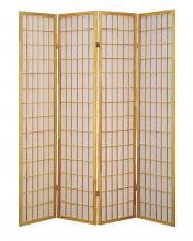 Asia Direct 531-4 4 panel natural finish wood rice paper room divider shoji screen