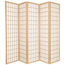 Asia Direct 531-5 5 panel rice paper center natural finish room divider shoji screen