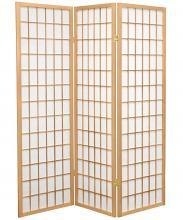 Asia Direct 531 3 panel natural finish wood rice paper room divider shoji screen