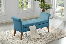 Asia Direct 5310-BLU House of Hampton cargo blue velvet storage bedroom bench with arms