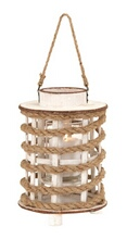 Classic Wooden Glass Rope Extension Lantern with Rustic Finish