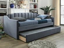 5326GY Menken grey fabric upholstered tufted twin day bed with trundle