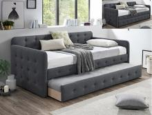 5327GY Haven grey fabric upholstered tufted twin day bed with trundle