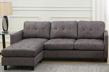 Acme 53315 Latitude run Ceasar gray fabric sectional sofa with reversible ottoman chaise