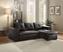 Acme 53345 2 pc Latitude run petrone lloyd black faux leather tufted back sectional sofa set