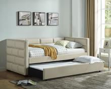 5337IV Flannery ivory fabric upholstered tufted twin day bed with trundle
