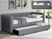 5338GY Emery grey fabric upholstered tufted twin day bed with trundle