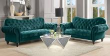 Acme 53400-02 2 pc Mercer 41 kohut iberis green velvet fabric nail head trim sofa and love seat set