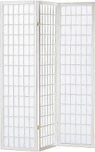 Asia Direct 535 3 panel white finish wood rice paper room divider shoji screen