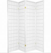 Asia Direct 535-4 4 panel white finish wood rice paper room divider shoji screen