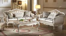 Acme 53540-41 2 pc Rosdorf park fairbanks chantelle pearl white finish wood rose gold faux leather sofa and love seat set