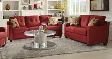Acme 53560-61 2 pc Winston porter orchard hill cleavon red linen fabric pocket coil seating sofa and love seat set