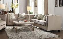 Acme 53585-86 2 pc Darby home co espino juliana beige fabric with nail head trim accents sofa and love seat