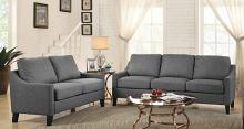 Acme 53755-56 2 pc Alcott hill bracken zapata gray linen fabric sofa and love seat set