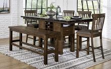 Homelegance 5400-36XL-6PC-24 6 pc schleiger burnished brown finish wood counter height dining table set with bench