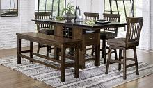 Homelegance 5400-36XL-6PC-24SW 6 pc schleiger burnished brown finish wood counter height dining table set with bench