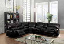 Acme 54150 6 pc Red barrel studio liska euro black leather-aire sectional sofa with power recliners