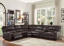 Acme 54155 6 pc Red barrel studio saul espresso leather-aire sectional sofa with power recliners