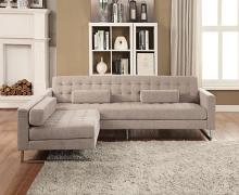 Acme 54180-83 2 pc Orren ellis quinnipiac sampson beige fabric sectional sofa with chaise chair