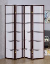 Asia Direct 542CH-4 4 panel cherry finish wood room divider shoji screen double cross design