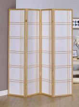 Asia Direct 542NA-4 4 panel natural finish wood room divider shoji screen double cross design
