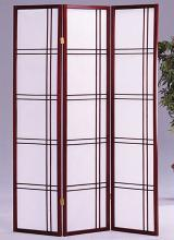 Asia Direct 542CH 3 panel cherry finish wood room divider shoji screen double cross design