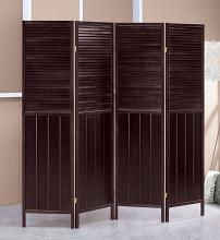 Asia Direct 5421-4 Savannah 4 panel room divider shoji screen solid wood espresso finish shutter style