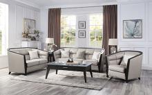 Acme 54235-36 Astoria Grand zemocryss dark finish wood beige fabric sofa and love seat set