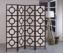Asia Direct 5426-4 4 panel Circular design black finish wood with Jute inlay style room divider shoji screen