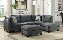 Acme 54385 3 pc Orren ellis elvin laurissa light gray fabric sectional sofa with nail head trim