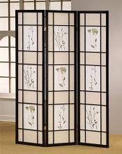 Asia Direct 5441 Ophelia and Co Nidhi black finish 3 panel floral room divider screen