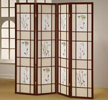 Cherry finish 4 panel room divider screen with floral design
