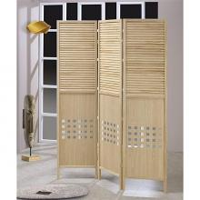 Asia Direct 5446-3 3 panel solid wood natural finish shutter style room divider shoji screen