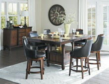 7 pc bayshore collection burnished walnut finish wood counter height pedestal dining table set with vinyl padded swivel seats