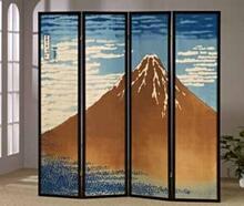 4 panel mt. fuji hokusai pastel look room divider shoji screen on canvas print