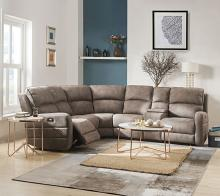 Acme 54590 6 pc Red barrel studio olwen mocha nubuck fabric sectional sofa with recliners and drink console