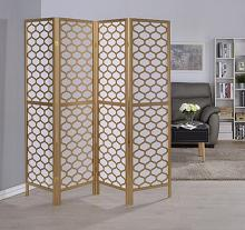 Asia Direct 5460-4 4 panel oval design gold finish wood with faux rice paper inlay style room divider shoji screen