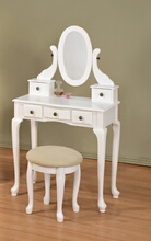 White finish wood 3 pc bedroom vanity set with mirror and stool and multiple drawers