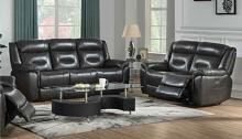 Acme 54805-06 2 pc Imogen gray leather aire power motion ends sofa and love seat set