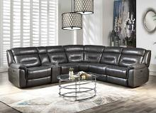 Acme 54810 6 pc Imogen gray leather aire power motion ends modular sectional sofa