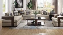 Acme 54850-51 2 pc Gracie oaks highbridge niamey neutral fabric cherry distressed wood accents sofa and love seat set