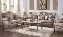 Acme 54865-66 2 pc Astoria grand welton jayceon champagne finish wood fabric sofa and love seat set