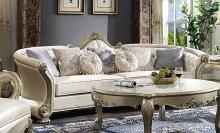 "Acme 54875 Astoria Grand makenzie dresden II gold patina finish wood carved accents 113"" sofa"