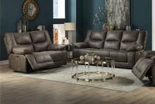 Acme 54895-96 2 pc Harumi gray leather aire power motion ends sofa and love seat set