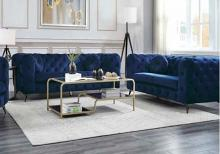 Acme 54900-01 2 pc Everly quinn vintage atronia blue tufted fabric low back sofa and love seat set